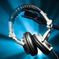 Dj headphones closeup Royalty Free Stock Photos