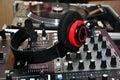 DJ headphones and mixer Royalty Free Stock Photo