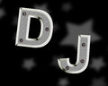 Dj logo english letters screwed to the background bolts Stock Images