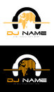 Dj logo an illustration of a representing headphones with sound waves made out of world map Royalty Free Stock Image