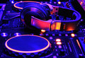 Dj mixer console at work Royalty Free Stock Photo