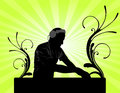 Dj mixing in green background Royalty Free Stock Photo