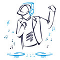Dj mixing music illustration of with headphones and cap Royalty Free Stock Image
