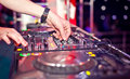 Dj mixing in night club Royalty Free Stock Photos