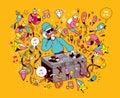 DJ playing mixing music on vinyl turntable cartoon illustration