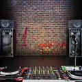 Dj r b rap pop music background with microphone speakers and equipment room for text or copy space Stock Photos