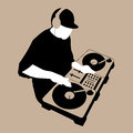 Dj scratch mixing turntable vector Stock Photo