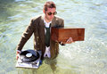 Dj in sea Stock Photography