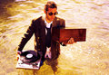 Dj in sea Royalty Free Stock Photo