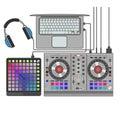 Dj set vector flat line art illustration. Launchpad, mixer, notebook, headphones