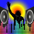 Dj silhouette and speakers vector illustration Royalty Free Stock Images