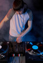 Dj in smoke Royalty Free Stock Photos