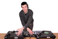 Dj with turntables Royalty Free Stock Photo