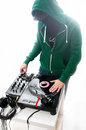 Dj white background mixer Royalty Free Stock Photography