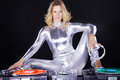 Dj woman with record player Royalty Free Stock Photo