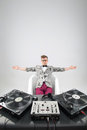 Dj at work in bath isolated on white background top view of confident young with stylish haircut and glasses and headphones the Stock Image