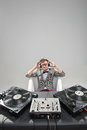 Dj at work in bath isolated on white background top view of confident young with stylish haircut and glasses and headphones the Royalty Free Stock Photos