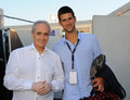 Djokovic carreras a friendly image of world champion tennis player novak and opera singer josè Stock Photography