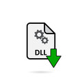DLL file with green arrow download button Royalty Free Stock Photo