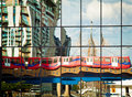 DLR train reflection Royalty Free Stock Photo