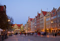 Dluga street at night gdansk famouse poland Stock Image