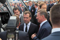 Dmitry medvedev and sergei ivanov zhukovsky russia aug at the international aviation space salon maks aug at zhukovsky russia Stock Images