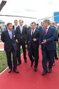 Dmitry medvedev and sergey shoygu zhukovsky russia aug at the international aviation space salon maks aug at zhukovsky russia Stock Photos