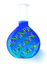 Dna in flask molecule element for design medical sign Stock Images