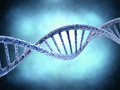 Dna molecule over abstract background blue biology science and medical technology concept Royalty Free Stock Photos