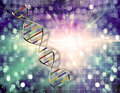 Dna strand with grid background Royalty Free Stock Photography