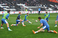 Dnepr football players warm up photo was taken during the match between shakhtar donetsk city and dnepropetrovsk city at donbass Stock Image