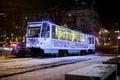 Dnepr, Ukraine - JANUARY 1, 2017: Christmas tram with festive l