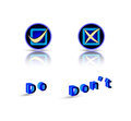 Do do not symbol with text don't web icon and this also can be used for opting a choice of correct and wrong Stock Image