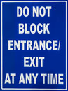 Do Not Block Entrance Sign Royalty Free Stock Images