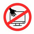 Monitor hands touch prohibition sign Royalty Free Stock Photo