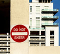 Do not enter sign at a private parking space Royalty Free Stock Photography