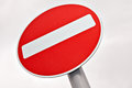 Do not enter traffic sign over white cloudy sky Stock Images
