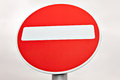 Do not enter traffic sign over white cloudy sky Royalty Free Stock Photo