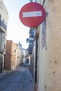 Do not enter traffic signs perspective at old town streets Royalty Free Stock Photo