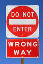 Do not enter wrong way Stock Images