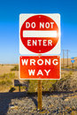 Do not enter wrong way Sign next to the Interstate 8 in the desert Royalty Free Stock Photo