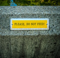 Do not feed conceptual image of a sign at a zoo Stock Image