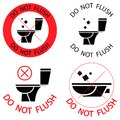 Do not flush. Toilet no trash. Please do not flush paper towels  sanitary products  icons. Prohibition icons. No littering Royalty Free Stock Photo