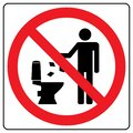 Do not litter in toilet icon. Keep clean sign. Silhouette of a man, throw garbage in a bin Royalty Free Stock Photo