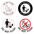 Do not litter in the toilet. Toilet no trash. Keeping the clean. Please do not flush paper towels  sanitary products  icons. Royalty Free Stock Photo