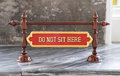 Do not sit here sign Royalty Free Stock Photo