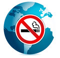 Do not smoke sign illustration design over a globe Stock Photos