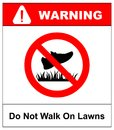 Do not step on grass sign, do not walk on lawns. Vector illustration isolated on white. Royalty Free Stock Photo
