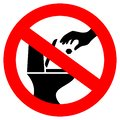 Do not throw trash in toilet vector sign Royalty Free Stock Photo