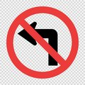 Do not turn left traffic sign on transparent background Royalty Free Stock Photo